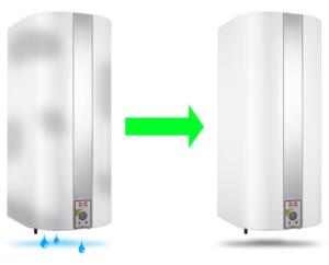 Utæt varmtvandsbeholder - Gennemtæret beholder skal skiftes
